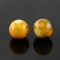 "Perles en verre d'effilage, rond, verge d'or, 6 mm; trou: 1.3~1.6 mm; environ 133 pcs / brin, 31.4""(GLAD-S075-6mm-36)"