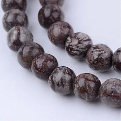 """Chapelets de perles de flocon de neige en obsidienne naturelle, rond, 8~8.5mm, trou: 1mm; environ 47 pcs/chapelet, 15.5""""(G-Q462-8mm-37)"""
