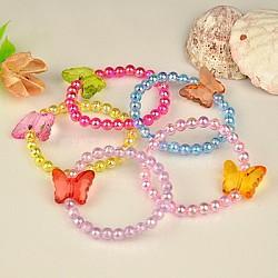 Bracelets pour enfants en acrylique transparent pour cadeau de fête des enfants, couleur mixte, 45mm(BJEW-JB00613-M)