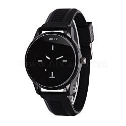 Fashionable Women's Alloy Silicone Quartz Wristwatches, Black, 255x20mm; Watch Head: 53x48x12mm(WACH-L025-02E)