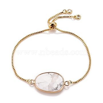 Adjustable Brass Bolo Bracelets, Slider Bracelets, with Cubic Zirconia and Gemstone Links, Oval, Golden, Inner Diameter: 2-3/4 inches(7.1cm)(BJEW-JB05472-02)