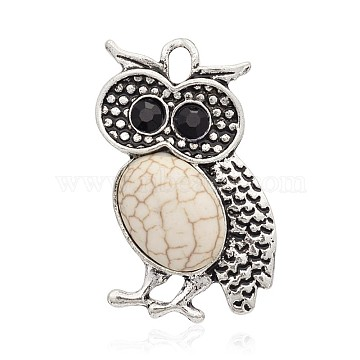 Antique Silver Tone Alloy Dyed Synthetic Turquoise Bird Pendants, with Rhinestones, Owl for Halloween, Beige, 36x24x7mm, Hole: 3mm(PALLOY-J442-02AS)