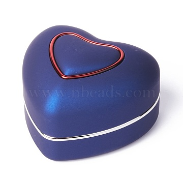 Heart Plastic Jewelry Ring Boxes, with Velvet, LED Light, and Copper Wire, Midnight Blue, 6.6x7.15x4.8cm(OBOX-F005-04A)