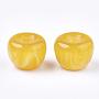 Resin Beads, Imitation Gemstone, Half Drilled, Apple, Gold, 21x15.5~16mm, Half Hole: 3.5mm