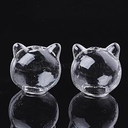 billes de globe en verre soufflé à la main, cat, effacer, 23~25x24.5x22 mm, trou: 2 mm(X-GLAA-Q077-01)