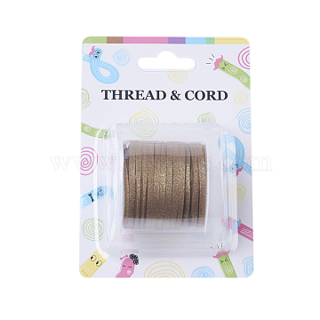 Eco-Friendly Faux Suede Cord, with Glitter Powder, Camel, 3x1.4mm, about 5.46 yards(5m)/roll(X-LW-Q013-3mm-1002)