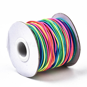 Round Elastic Cord, with Nylon Outside and Rubber Inside, Colorful, 1mm, about 109.36 yards(100m)/roll(EC-R001-1mm-MB)