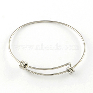 Adjustable 201 Stainless Steel Expandable Bangle Making, Stainless Steel Color, 65mm(X-STAS-R069-04)
