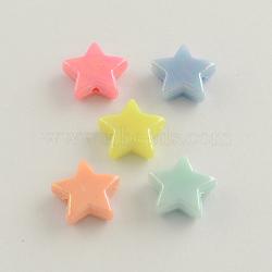 Цвет AB покрытием акриловые бусины, звезда, разноцветные, 14x14x5 мм, отверстие : 2 мм(X-SACR-Q106-01)
