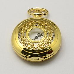 Vintage Hollow Flat Round Zinc Alloy Quartz Watch Heads for Pocket Watch Pendant Necklace Making, Antique Bronze, Golden, 59x46x14mm, Hole: 16x4mm(WACH-R005-31)