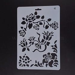 Шаблоны для рисования, прямоугольные, цветочным узором, белые, 25.5x17.4x0.04 см(DIY-F018-B04)