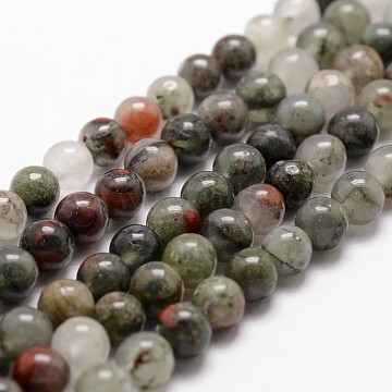 Natural African Bloodstone Beads Strands, Heliotrope Stone Beads, Round, 10mm, Hole: 1mm; about 37pcs/strand, 14.9''~15.1''(G-G735-32-10mm)