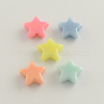 AB Color Plated Acrylic Beads, Star, Mixed Color, 14x14x5mm, Hole: 2mm(X-SACR-Q106-01)