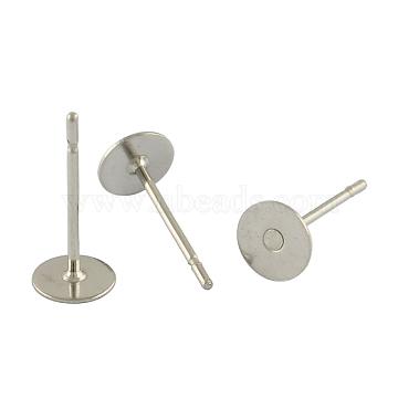 Accessoires clou d'oreille vierge ronde et plate en 304 acier inoxydable, couleur inoxydable, 12x8 mm; broches: 0.6 mm(X-STAS-S028-37)