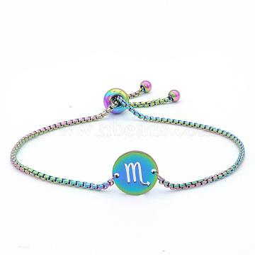 """Bracelets réglables en 201 acier inoxydable, bracelets bolo, avec des chaînes de boîte, plat rond avec constellation / signe du zodiaque, Scorpion, 9-1/2"""" (24 cm)(STAS-S105-JN664-8)"""