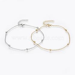 """Bracelets de cheville en 304 acier inoxydable, avec fermoir pince de homard, perles rondes et chaînes de câbles, couleur mixte, 9"""" (230 mm); 1.8mm(AJEW-H013-02)"""