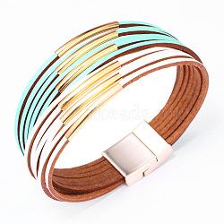 """Bracelet en cuir de vachette véritable, avec les accessoires en alliage, couleur mixte, 7-1/2"""" (19 cm), 30mm(BJEW-F352-10GP-08)"""
