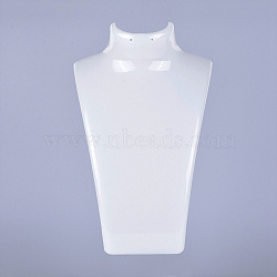 Organic Glass Necklace & Earring Standing Bust Displays, White, 135x64x210mm(X-NDIS-E006-2A)