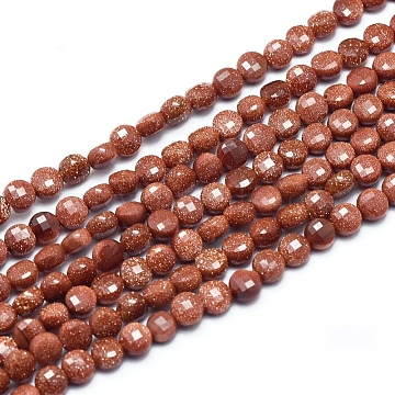 Synthetic Goldstone Beads Strands, Faceted, Flat Round, 4~4.5x2.5~3mm, Hole: 0.7mm, about 104~109 pcs/Strand, 15.35''(39cm)(G-D0003-A55)