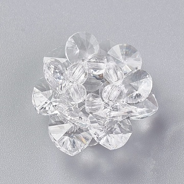 25mm Clear Flower Glass Beads