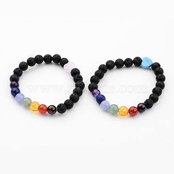 Natural Lava Rock Bead Stretch Bracelets, Chakra Jewelry, with Mixed Stone Beads and Elastic Crystal Thread, 2-1/4 inches(55mm)(X-BJEW-JB02494)