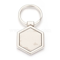 trousseau de paramètres de cabochon en alliage de zinc, avec anneau en fer, hexagone, platine, plateau: 29x33 mm; 73 mm; 45.5x35x3.5 mm; 1 pc / box(KEYC-E028-04P)