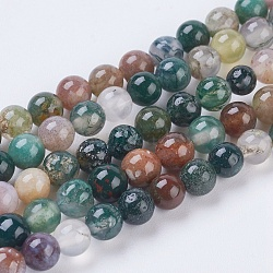 Natural Indian Agate Beads Strands, Round, 4mm, Hole: 1mm, about 43pcs/strand, 7.2inches