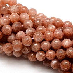 Grade AAA Natural Gemstone Sunstone Round Beads Strands, 10mm, Hole: 1mm; about 38pcs/strand, 15.5inches
