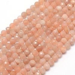 """Натуральный Sunstone бисер пряди, граненые, круглые, 4 мм, Отверстие : 1 мм; около 105 шт / нитка, 15.35"""" (39 см)(G-E411-13B-4mm)"""