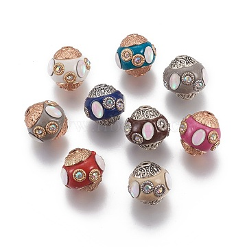 Handmade Indonesia Beads, with Rhinestone and Metal Findings, Round, Mixed Color, 14.5~15x14~14.5mm, Hole: 1.5mm(IPDL-G014-01)
