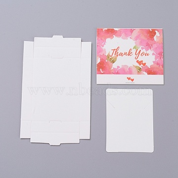 Kraft Paper Boxes and Necklace Jewelry Display Cards, Packaging Boxes, with Word Thank You and Heart Pattern, White, Folded Box Size: 7.3x5.4x1.2cm; Display Card: 7x5x0.05cm(X-CON-L016-A03)