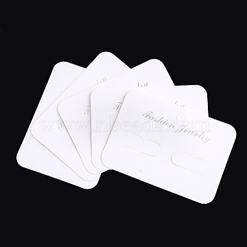 Cardboard Display Cards, Used For Hair Barrettes, Rectangle, White, 7x9.7x0.03cm, Hole: 7mm(X-CDIS-S025-39)