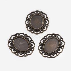 Support de cabochon de style tibétain, ovale, bronze antique, sans plomb et sans cadmium, 42x34.5x3.5mm, trou: 1 mm; plateau: 26x20 mm(X-TIBEP-EA079YKG-AB-LF)
