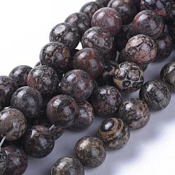 Chapelets de perles de jaspe en peau de léopard naturel, rond, 10mm, trou: 1.2mm; environ 40 pcs/chapelet, 15.75'' (40 cm)(G-G803-15A-10mm)