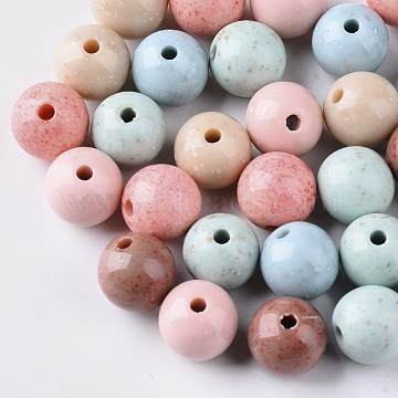 Antique Style Opaque Acrylic Beads, Round, Mixed Color, 10mm, Hole: 2mm(X-SACR-N007-A-M)