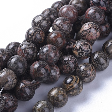 Natural Leopard Skin Jasper Beads Strands, Round, 10mm, Hole: 1.2mm; about 40pcs/strand, 15.75 inches(40cm)(G-G803-15A-10mm)