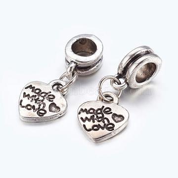 Alloy European Dangle Beads, Heart, Antique Silver, 22mm, Hole: 5mm(X-PALLOY-JF00001-15)