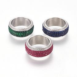 Bagues en laiton, anneaux large bande, avec micro ouvrent la zircone cubique, platine, couleur mixte, 18mm(RJEW-I057-01)