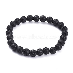 Natural Lava Rock Beads Stretch Bracelets, Round, 2-1/4 inches(5.8cm); Bead: 8.5mm(X-BJEW-G623-02-8mm)