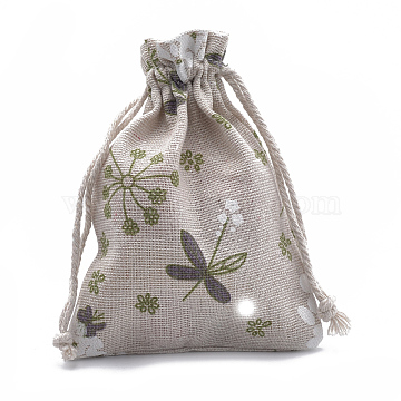 Polycotton(Polyester Cotton) Packing Pouches Drawstring Bags, with Printed Flower, Old Lace, 14x10cm(ABAG-T006-A07)
