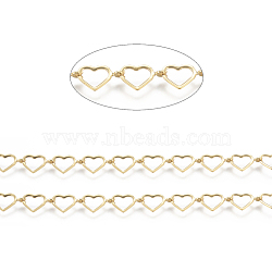 Brass Handmade Beaded Chains,  Link Chain, Long-Lasting Plated, Soldered, with Spool, Heart, Real 18K Gold Plated, Link: 6x10x0.5mm, about 32.8 Feet(10m)/roll(CHC-I031-21G)