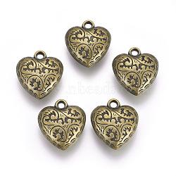 Пластмассовые подвески ccb, сердце, античная бронза, 27x23x8 мм, отверстие : 3 мм(CCB-O001-15AB)