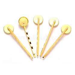 Accessoires bobby épingle à cheveux en fer, plat rond, or, 54x14 mm; plateau: 12 mm(IFIN-Q101-5G)