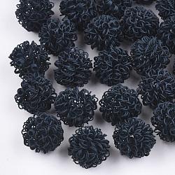 Perles de fil de fer environnementales peintes par pulvérisation, rond, prussianblue, 16~17mm(IFIN-T009-09B)
