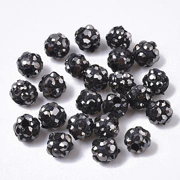 Pave Disco Ball Beads, Polymer Clay Pave Rhinestone Beads, Round, Half Drilled, Jet Hematite, PP15(2.1~2.2mm), 6 Rows Rhinestone; 4.5mm, Half Hole: 1.2mm(RB-T017-01-01)