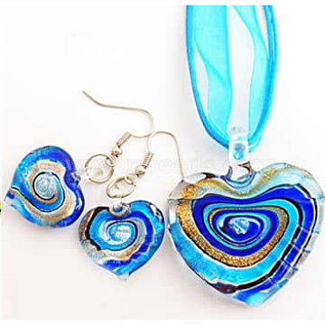 Handmade Silver Foil Glass Jewelry Set, with Gold Sand, Necklace and Earrings, Mother's Day Design, Heart, Cyan, 45x40mm(FOIL-C566-3A)