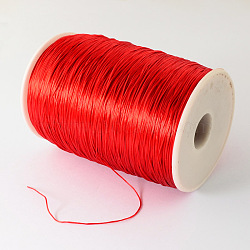 Flat Elastic Crystal String, Elastic Beading Thread, for Stretch Bracelet Making, Red, 1mm; about 700~800m/roll(EW-R001-08)