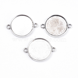 плоские круглые параметров соединителя ободок кабошон тибетский стиль, чашки безель с краем, свинца, Старинное серебро, 29x22x2.5 mm, отверстия: 2 mm, лоток: 20 mm(X-TIBE-A124178-AS-LF)