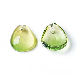 Breloques en verre, goutte , greenyellow, 12x11x4mm, Trou: 1mm(X-GLAA-E410-B15)