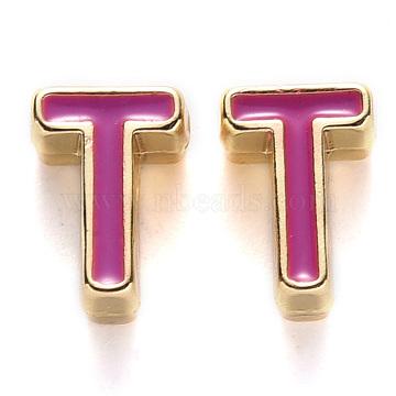 Rack Plating Alloy Enamel Beads, Cadmium Free & Nickel Free & Lead Free, Light Gold, Medium Violet Red, Letter.T, T: 10x7x5mm, Hole: 1.6mm(X-ENAM-S122-033T-NR)